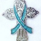 Ovarian Cancer Awareness Teal Ribbon Religious Cross Church Lapel Pin New