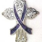 Gynecological Cancer Awareness Lavender Ribbon Religious Cross Church Pin New