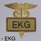EKG Gold Inlaid Insignia Emblem Pin Caduceus 3511G New