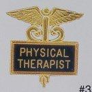 New Physical Therapist Black Inlaid Pin Caduceus 3512B