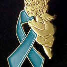 Teal Ribbon Gold Angel Polycystic Kidney Disease Pin