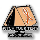 Hunger Awareness Orange Ribbon Pitch Tent Land of Hope Camping Camper Pin New
