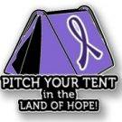 Cystic Fibrosis Awareness Purple Ribbon Tent Land of Hope Camping Camper Pin New