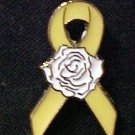 Yellow Ribbon Rose Troops Cancer Awareness Pin Tac New