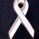 New White Ribbon Bone Cancer Adoption Anti-War Pin Tac