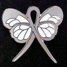 Brain Cancer Awareness Gray Ribbon Butterfly Lapel Pin