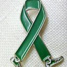 Go Green Lapel Pin Awareness Month is October Green Ribbon Walking Legs New