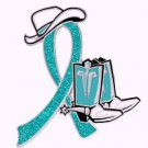 Ovarian Cancer Teal Glitter Ribbon Cowgirl Cowboy Western Boots Hat Pin New
