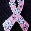 Breast Cancer Awareness Pink Ribbon Snowflake Snow Pin