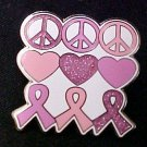Breast Cancer Awareness Heart Peace Hippie Lapel Pin