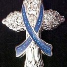 Colon Cancer Awareness Blue Ribbon Religious Cross Inspirational Church Pin New