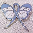 Esophageal Cancer Awareness Pin Periwinkle Blue Ribbon Butterfly New