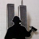 NY Fireman Firefighter Twin Towers Pewter Pin Tac New