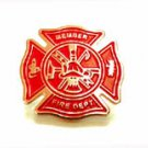 Fire Department Red Gold Maltese Cross Lapel Pin New