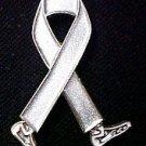 Mental Illness Awareness Month is May Silver Gray Walking Legs Ribbon Pin New
