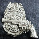 Police Shield Badge Revolver Tie Tac Police Officer Policeman Nickel P3609N