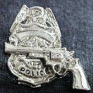 Police Shield Badge Revolver Tie Tac Police Officer Policeman Nickel P3609N