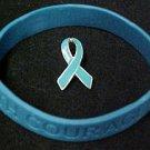 Teal Ribbon Pin Silicone Bracelet Set Ovarian Cancer September Awareness Month