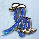 Colorectal Cancer Blue Glitter Ribbon Cowgirl Cowboy Western Boots Hat Lapel Pin