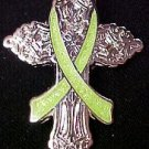 Muscular Dystrophy Awareness Lime Green Ribbon Religious Cross Church Pin New