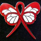 Lymphoma Red Awareness Ribbon Butterfly Lapel Pin New