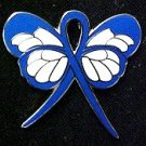 Colon Cancer Awareness Blue Ribbon Butterfly Pin New