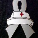 Allergies Awareness Month is May Nurse Cap Red Cross Gray Ribbon Pin New