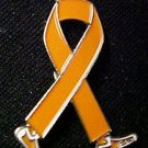 Motorcycle Safety Awareness Month is May Orange Ribbon Walking Legs Lapel Pin
