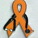 Melanoma Awareness Month is May Doctor Stethoscope Orange Ribbon Support Pin New