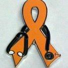Leukemia Awareness Month is September Doctor Stethoscope Orange Ribbon Pin New