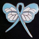 Prostate Cancer Awareness Lapel Pin Light Blue Ribbon Butterfly Exclusive New