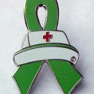 Adult Stem Cell Donor Awareness Nurse Cap Red Cross Lime Green Ribbon Pin New