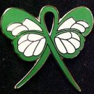 Mental Illness Awareness Green Support Ribbon Butterfly Pin May New