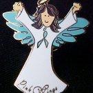 Ovarian Cancer Awareness Teal Ribbon Angel Brown Pin