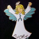 Ovarian Cancer Awareness Teal Ribbon Angel Blonde Pin