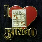 I Love Bingo Red Heart Lapel Cap Pin Tac Enamel New
