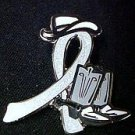 Brain Disabilities Awareness Gray Ribbon Cowgirl Cowboy Western Boots Hat Pin