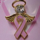 Breast Cancer Pink Ribbon Angel Halo Crystal Head Pin