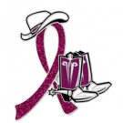 Hospice Care Burgundy Glitter Ribbon Cowgirl Cowboy Western Boots Hat Pin New