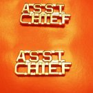 Asst Chief Collar Pin Set Cut Out Letters Fire Dept Police Assistant Gold 2210G