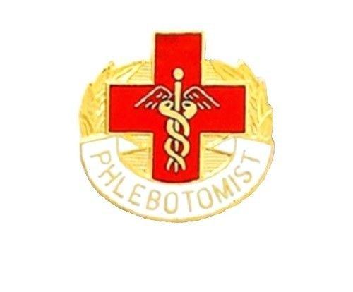 Phlebotomist Lapel Pin Cross Caduceus Insignia Blood Lab Technician 5001 New