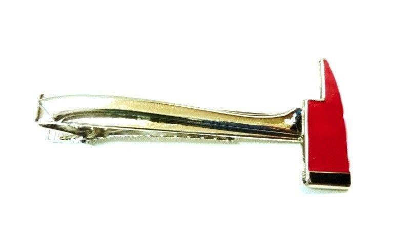 Fireman Ax Tie Bar Clip Firefighter FD Fire Department Axe Silver Red P4115 New