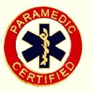 Paramedic Certified Collar Pin Device Blue Star of Life Gold Red Uniforms 62G2