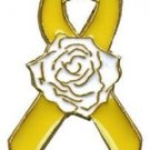 Yellow Ribbon White Rose Lapel Pin Tac Liver Cancer Awareness Gold Plated New