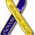 Down Syndrome Lapel Pin Ribbon Awareness Blue Yellow Two Tone With Lettering New