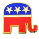 US Republican Lapel Pin Party Elephant Red White Blue Patriotic Support New