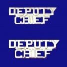 Deputy Chief Collar Pin Set Fire Dept Police Rank Nickel Cut Out Letters P2215