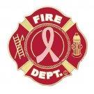Breast Cancer Pin Fire Dept Pink Ribbon Maltese Cross Fire Fireman New