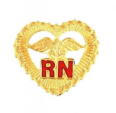 RN Pin Heart Caduceus Beaded Registered Nurse Graduation Pinning Ceremony Pins