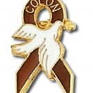 Colon Cancer Awareness Lapel Pin Rust Brown Ribbon White Dove Gold Letters New